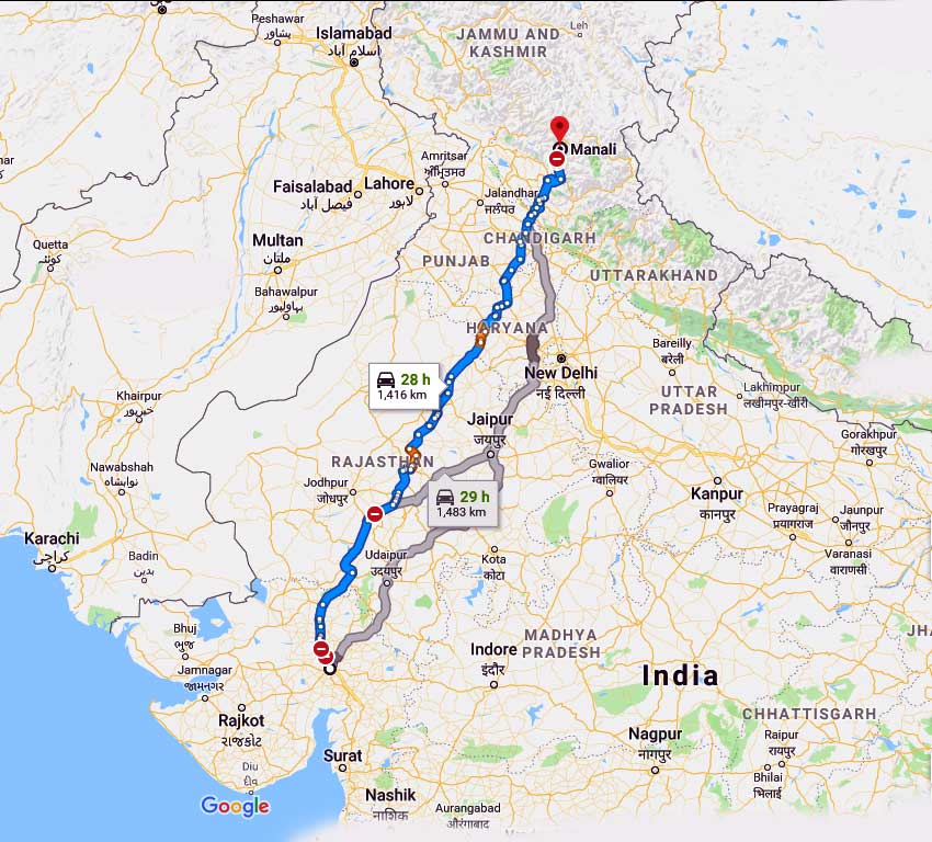 How to Ahmedabad to Manali