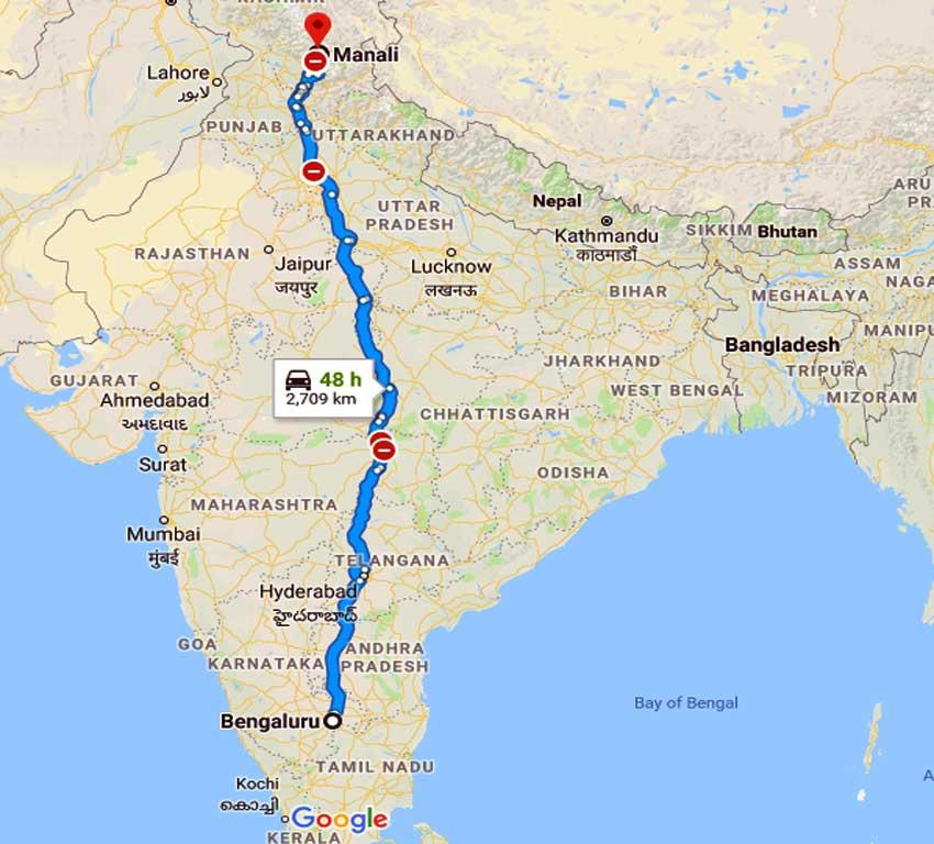 How to Bangalore to Manali
