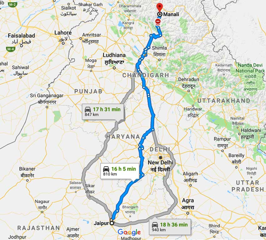 How to Jaipur to Manali