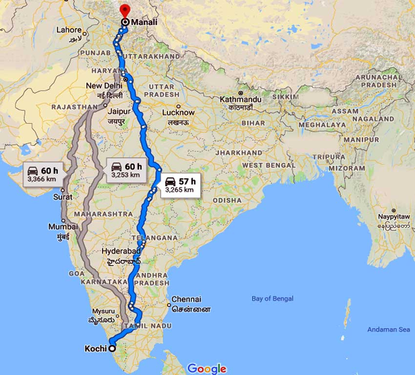 How to Cochin to Manali