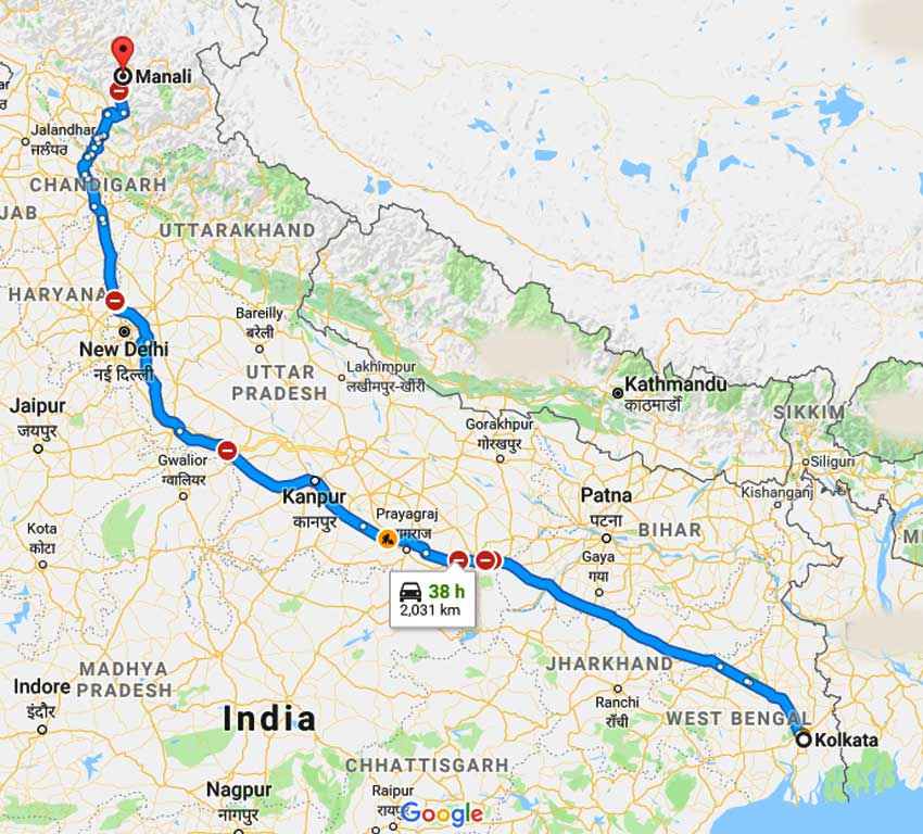 Manali India Map.Shimla Kullu Manali Honeymoon Package From Kolkata By Flight Price