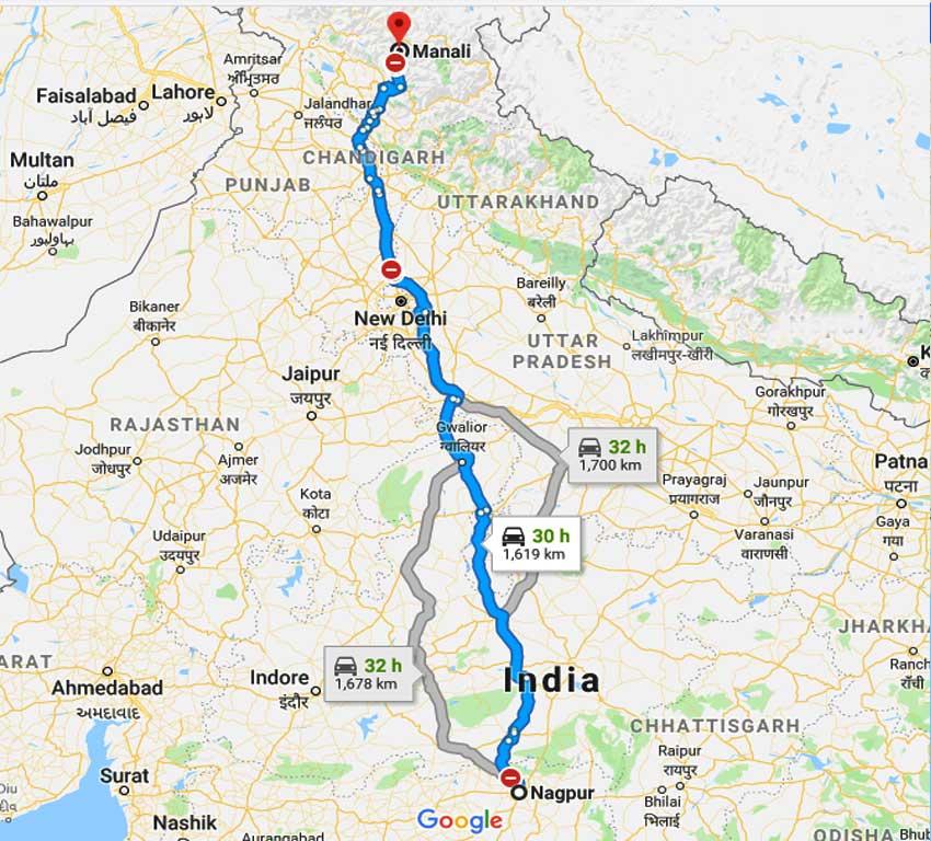 How to Nagpur to Manali