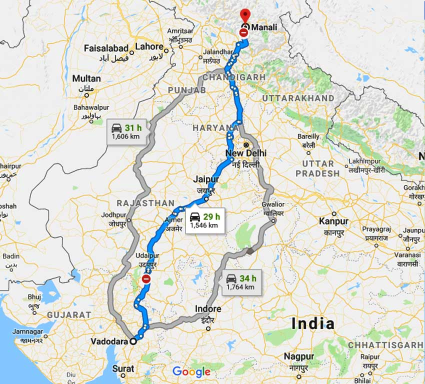 How to Vadodara to Manali