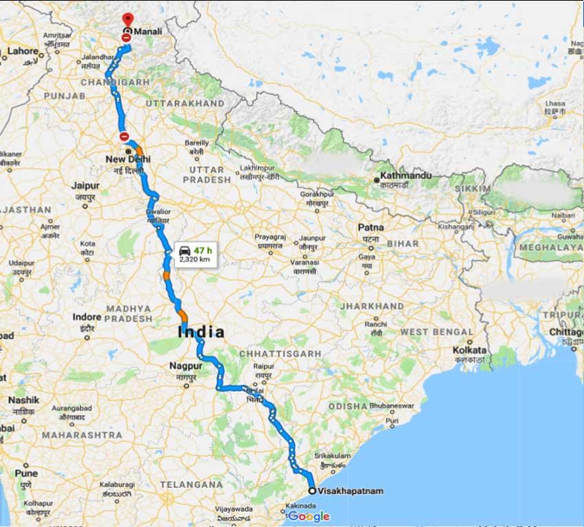 How to Visakhapatnam to Manali